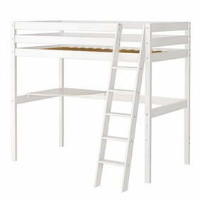 Jackpot Twin High Loft Bed with Corner Desk in White
