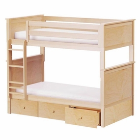 Jackpot Twin/Twin Panel Bunk Bed with Drawers in Natural