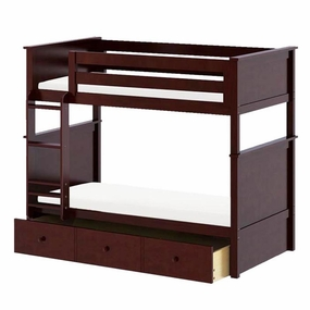 Jackpot Twin/Twin Panel Bunk Bed with Trundle in Cherry