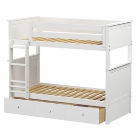 Jackpot Twin/Twin Panel Bunk Bed with Trundle in White
