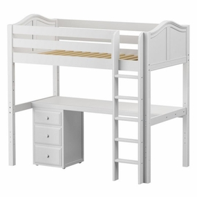JibJab 2 Twin High Loft Bed with Straight Ladder, Desk Top, 3-Drawers