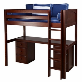 JibJab 3 Twin High Loft Bed with Straight Ladder, Desk Top, 6-Drawers