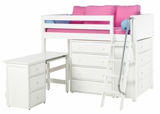 Kaching 1 Twin Mid-Height Storage Loft Bed with Desk and Angled Ladder