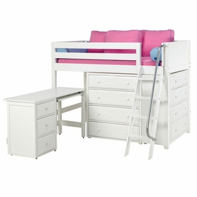 Katching 1 Twin Mid-Height Storage Loft Bed with Desk and Angled Ladder