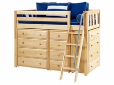 Kaching Twin Mid-Height Storage Loft Bed with Angled Ladder