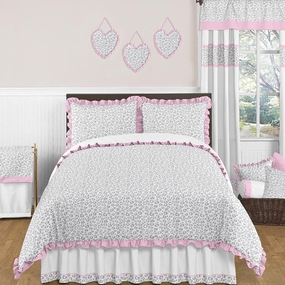 Kenya Gray and Pink Kids Bedding Collection