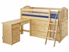 Kicks 1 Twin Low Loft Storage Bed with Desk and Angled Ladder
