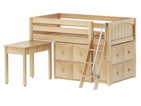 Kicks 17 Low Loft Storage Bed with Desk and Angled Ladder