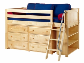 Kicks 2 Twin Low Loft Storage Bed with Angled Ladder