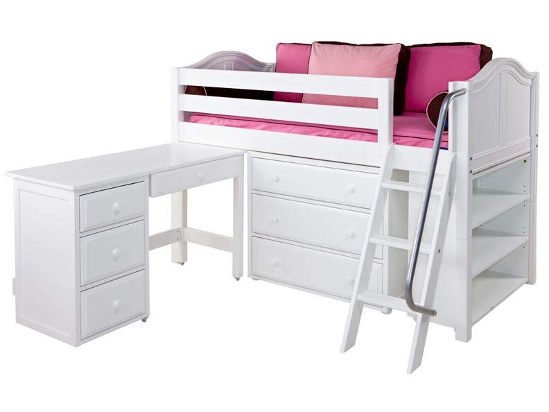 ... Loft Storage Bed with Angled Ladder & Desk - Twin Size Low Loft Beds