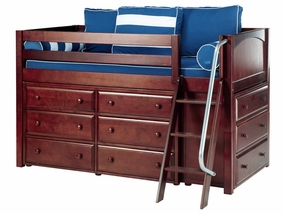 Kicks Twin Low Loft Storage Bed with Angled Ladder