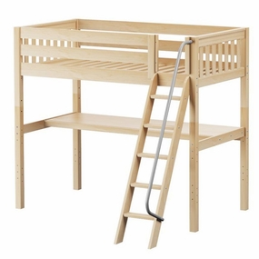 KnockOut 1 Twin High Loft Bed with Angled Ladder and Desk Top
