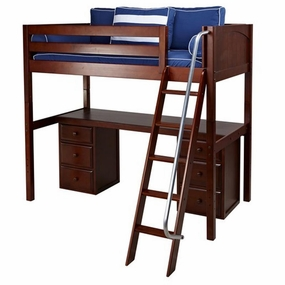 KnockOut 3 Twin High Loft Bed with Angled Ladder, Desk Top, 6-Drawers
