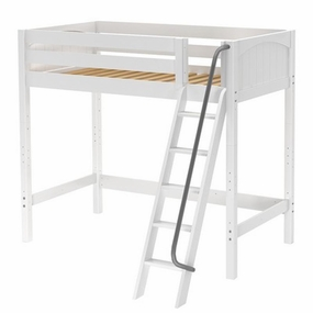 KnockOut Twin High Loft Bed with Angled Ladder and Metal Handrail
