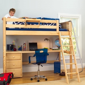 KnockOut2 Twin High Loft Bed with Angled Ladder, Desk Top, 3-Drawers