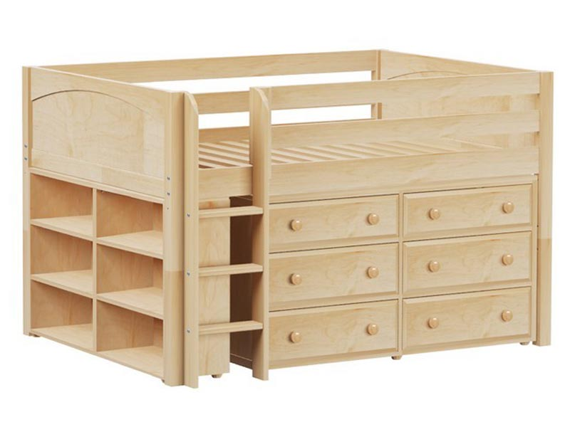 Maxtrix large 1 low loft storage bed with straight ladder loft beds