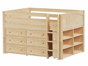 Large 1 Full Low Loft Storage Bed with Straight Ladder