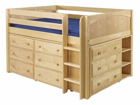 Large 3 Full Size Low Loft Storage Bed with Straight Ladder