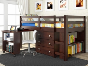 Twin Low Loft Bed with Desk in Cappuccino