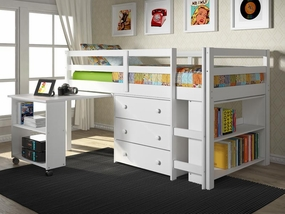 Twin Low Loft Bed with Desk in White