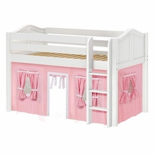 Low Rider 23 Twin Low Loft with Straight Ladder & Pink/White Curtain