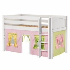 Low Rider 25 Twin Low Loft Straight Ladder, Pink/Green/Yellow Curtain