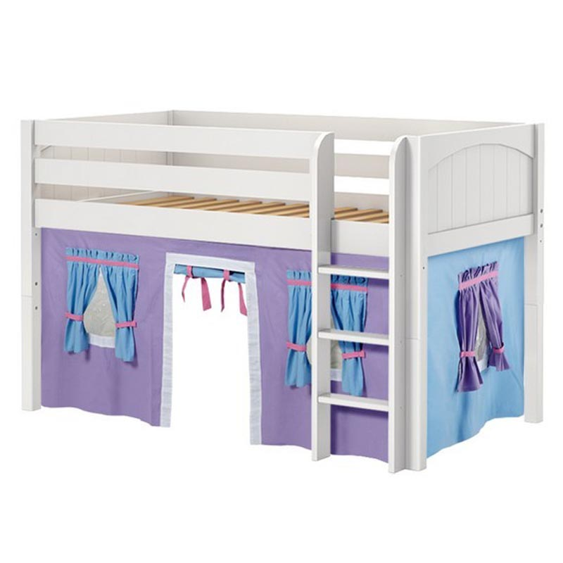 Low Rider 27 Twin Low Loft Straight Ladder, Purple/Light Blue Curtain