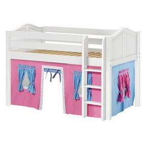 Low Rider 28 Twin Low Loft Straight Ladder, Hot Pink/Light Blue/Purple Curtain
