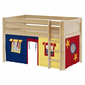 Low Rider 29 Twin Low Loft St. Ladder, Blue/Red/Hot Yellow Curtain
