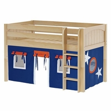 Low Rider 42 Twin Low Loft Straight Ladder, Blue/Orange Curtain