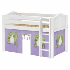 Low Rider 75 Twin Low Loft with Straight Ladder & Purple/Green/Light Blue Curtain