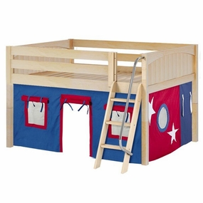 Mansion 21 Full Low Loft Bed with Angled Ladder and Curtain