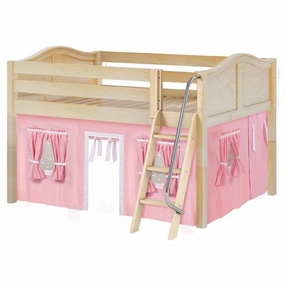 Mansion 23 Full Low Loft Bed with Angled Ladder and Curtain