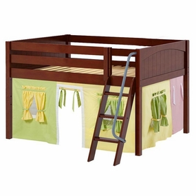 Mansion 24 Full Low Loft Bed with Angled Ladder and Curtain
