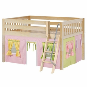 Mansion 25 Full Low Loft Bed with Angled Ladder and Curtain
