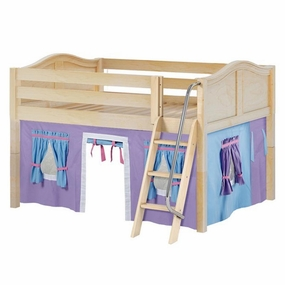 Mansion 27 Full Low Loft Bed with Angled Ladder and Curtain