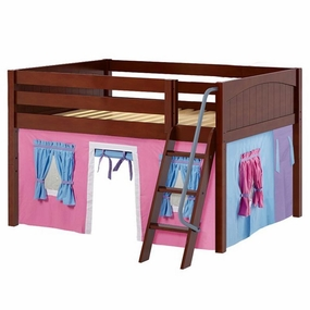 Mansion 28 Full Low Loft Bed with Angled Ladder and Curtain