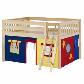 Mansion 29 Full Low Loft Bed with Angled Ladder and Curtain