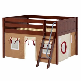 Mansion 30 Full Low Loft Bed with Angled Ladder and Curtain
