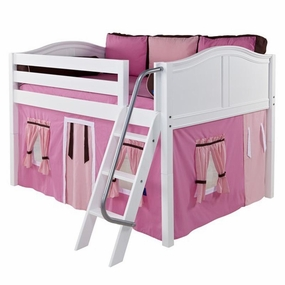 Mansion 73 Full Low Loft Bed with Angled Ladder and Curtain