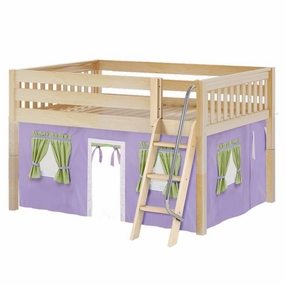 Mansion 75 Full Low Loft Bed with Angled Ladder and Curtain