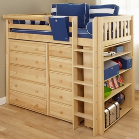 Master 2 Twin High Loft Storage Bed with Straight Ladder