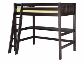 Mission High Loft Bed with Desk Top in Cappuccino