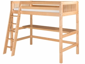 Mission High Loft Bed with Desk Top in Natural