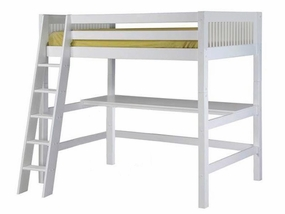 Mission High Loft Bed with Desk Top in White