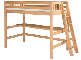 Mission High Loft Bed with Lateral Angled Ladder in Natural