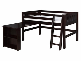 Mission Low Loft Bed with Retractable Desk in Cappuccino