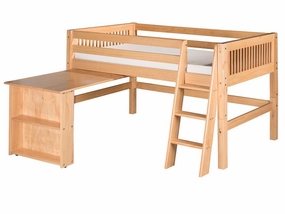 Mission Low Loft Bed with Retractable Desk in Natural