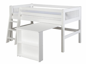 Mission Low Loft Bed with Retractable Desk in White