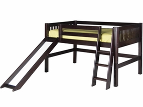 Mission Low Loft Bed with Slide in Cappuccino